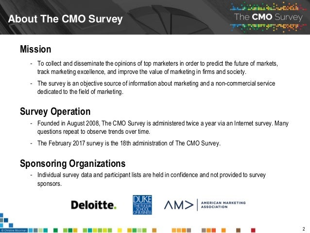 The CMO Survey Highlights and Insights February 2017 Slide 2