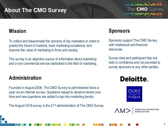 The CMO Survey - Highlights and Insights Report - August 2018 Slide 2