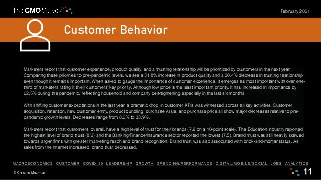 © Christine Moorman 11 February 2021 Customer Behavior Marketers report that customer experience, product quality, and a t...