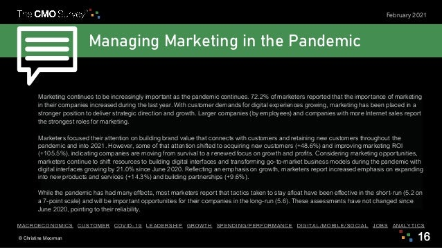 © Christine Moorman 16 February 2021 Managing Marketing in the Pandemic Marketing continues to be increasingly important a...