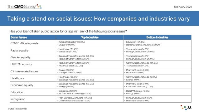 February 2021 © Christine Moorman 38 Taking a stand on social issues: How companies and industries vary Social Issues Top ...