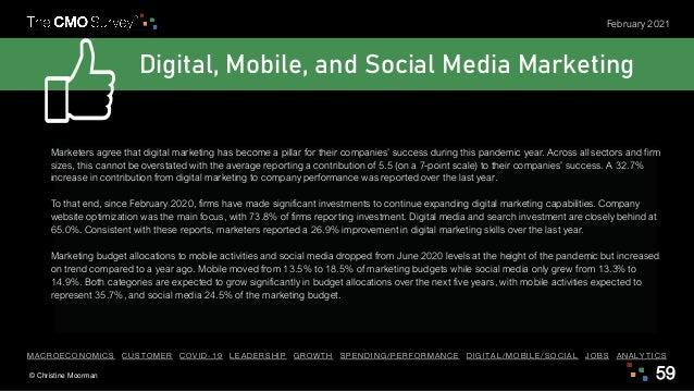 © Christine Moorman 59 February 2021 Digital, Mobile, and Social Media Marketing Marketers agree that digital marketing ha...