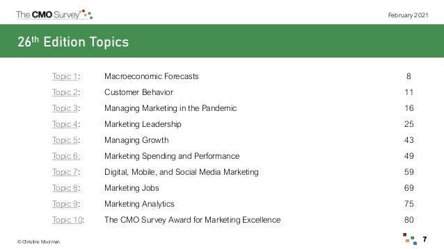 © Christine Moorman February 2021 7 26th Edition Topics Topic 1: Macroeconomic Forecasts 8 Topic 2: Customer Behavior 11 T...