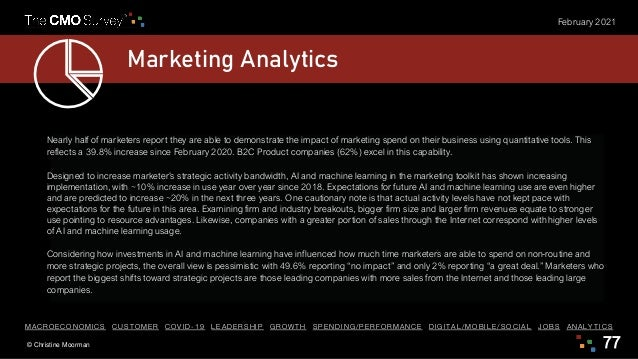 © Christine Moorman 77 February 2021 Marketing Analytics Nearly half of marketers report they are able to demonstrate the ...