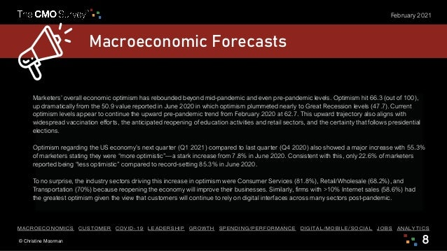 © Christine Moorman 8 February 2021 Macroeconomic Forecasts Marketers' overall economic optimism has rebounded beyond mid-...
