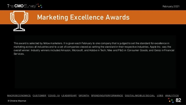 © Christine Moorman 82 February 2021 Marketing Excellence Awards This award is selected by fellow marketers. It is given e...