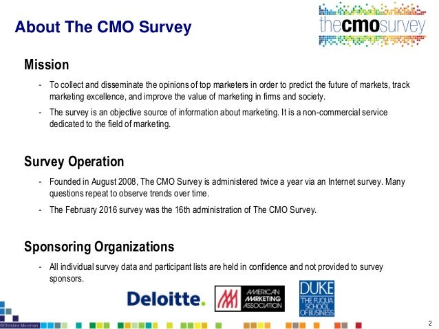 Survey Sample - 3120 top U.S. marketers - 289 responded for a 9.3% response rate Survey Administration - Email contact wit...