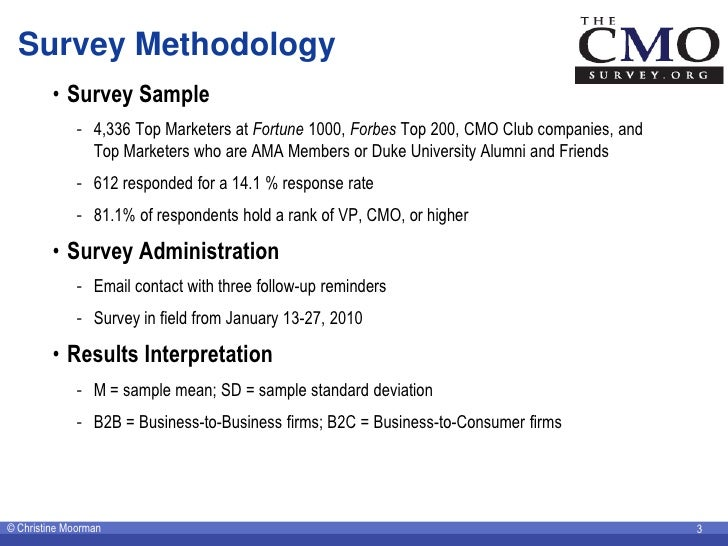 Survey Methodology          • Survey Sample              - 4,336 Top Marketers at Fortune 1000, Forbes Top 200, CMO Club c...