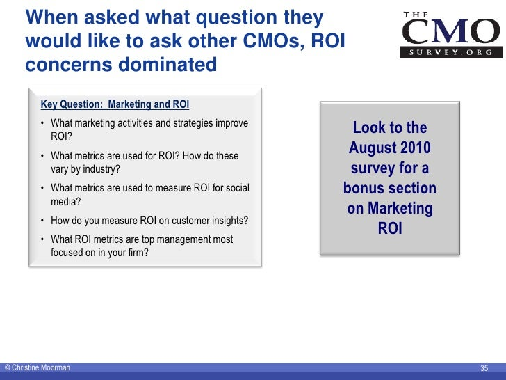 When asked what question they      would like to ask other CMOs, ROI      concerns dominated           Key Question: Marke...
