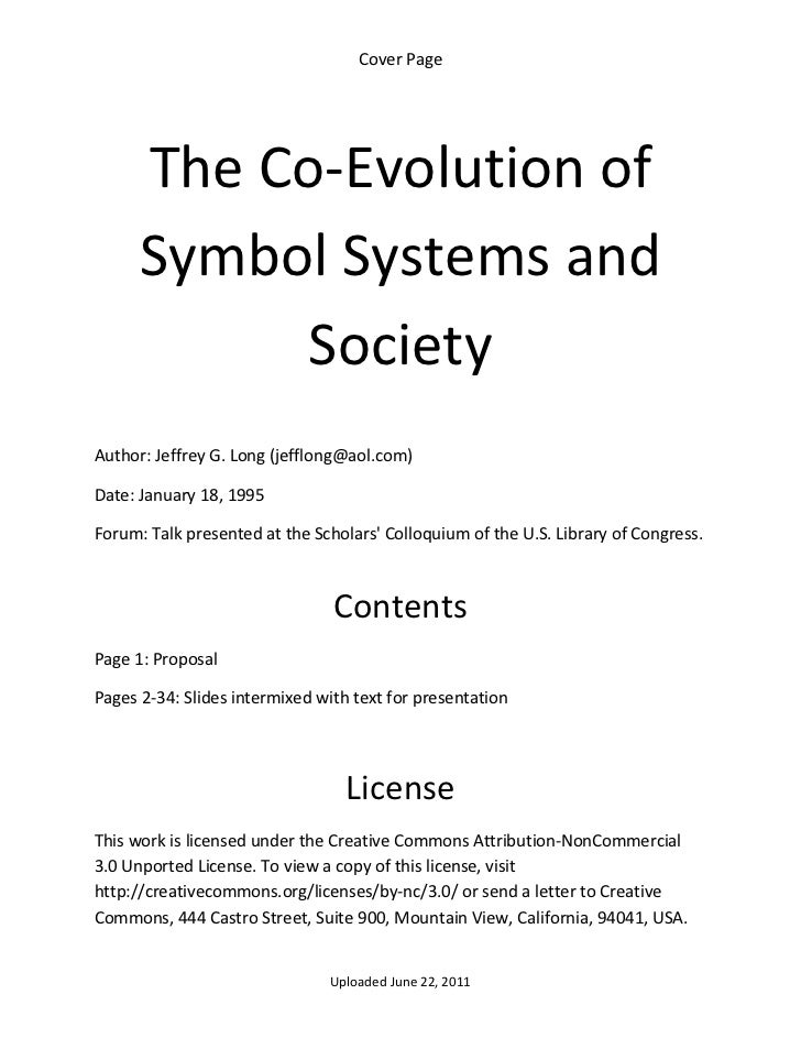CoverPage      TheCo‐Evolutionof      SymbolSystemsand            SocietyAuthor:JeffreyG.Long(jefflong@aol....