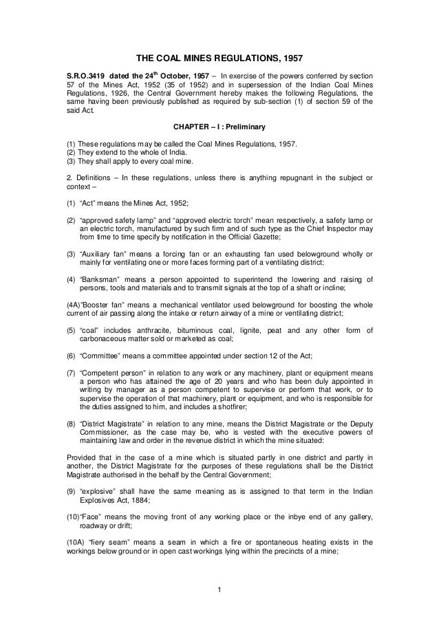 The coal mines regulation, 1957