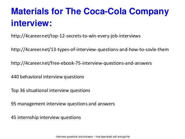 The Coca Cola Company Interview Questions And Answers