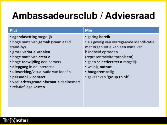 Ambassadeursclub / Adviesraad Plus Min • agendasetting mogelijk • hoge mate van gemak (staan altijd stand-by) • grote vari...