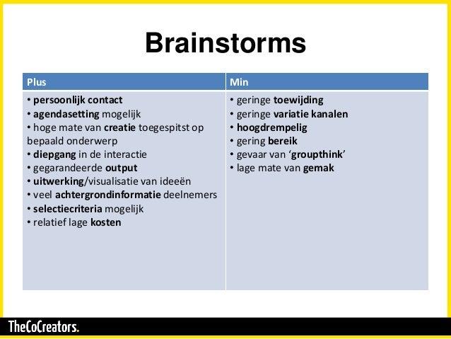 Brainstorms Plus Min • persoonlijk contact • agendasetting mogelijk • hoge mate van creatie toegespitst op bepaald onderwe...