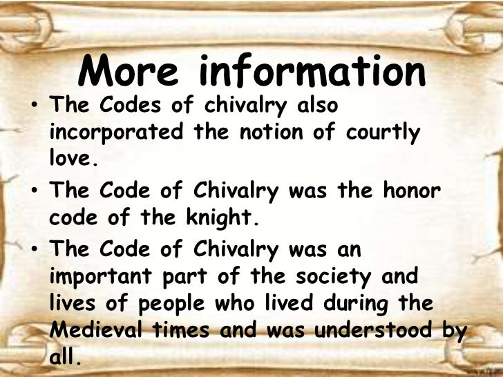 the medieval code of chivalry