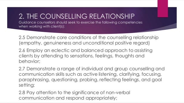 importance of core conditions in counselling relationship Relationship within online counselling  this indicates how possible it may be to fulfil the core conditions of face-to-face counselling  note the importance of.