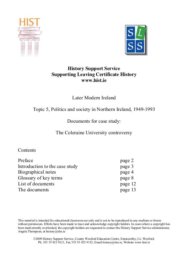 History Support Service Supporting Leaving Certificate History www.hist.ie Later Modern Ireland Topic 5, Politics and soci...