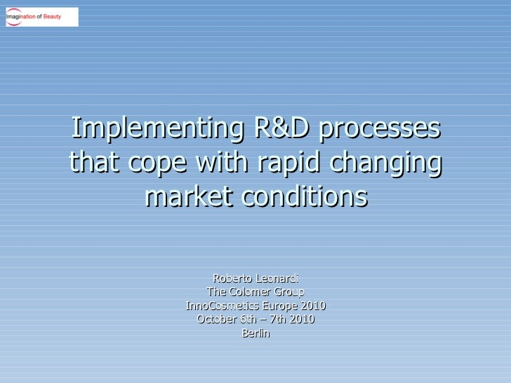 Implementing R&D processes that cope with rapid changing market conditions Roberto Leonardi The Colomer Group InnoCosmetic...
