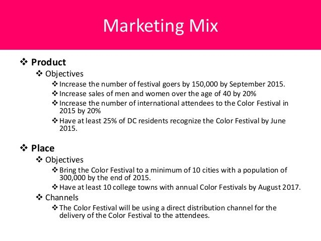 product mix objectives The degree and the nature of usage of each of the promotion methods depend on the objectives of the retail firm, product  types of retail marketing mix are.