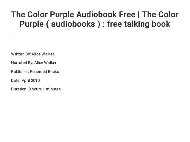 The Color Purple Audiobook Free The Color Purple Audiobooks F