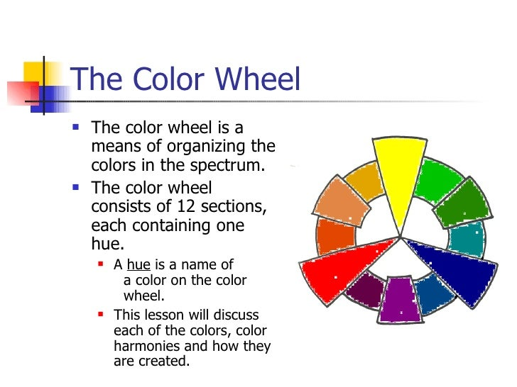The Color Wheel <ul><li>The color wheel is a means of organizing the colors in the spectrum. </li></ul><ul><li>The color w...