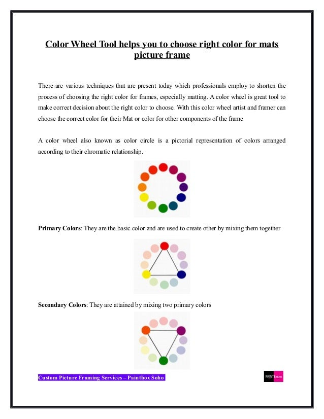 Color wheel tool for your Custom picture frames
