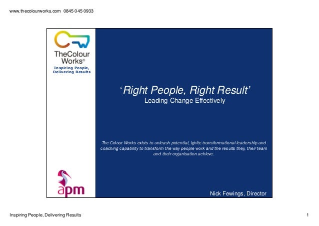 www.thecolourworks.com 0845 045 0933Inspiring People, Delivering Results 1Inspiring People,Delivering Results'Right People...