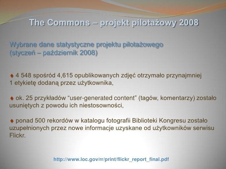 The Commons – projekt pilotażowy 2008  Wybrane dane statystyczne projektu pilotażowego (styczeń – październik 2008)     4 ...