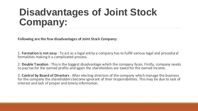 an analysis of advantages and disadvantages of joint stock companies