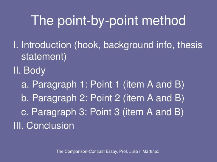 compare and contrast essay using point by point method Comparison and contrast essay is one of the most common assignments in american high schools and universities point-by-point this method is used to compare each point of the objects, rather than describe one thing at a time.