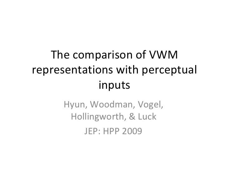 The comparison of VWM representations with perceptual inputs Hyun, Woodman, Vogel, Hollingworth, & Luck JEP: HPP 2009