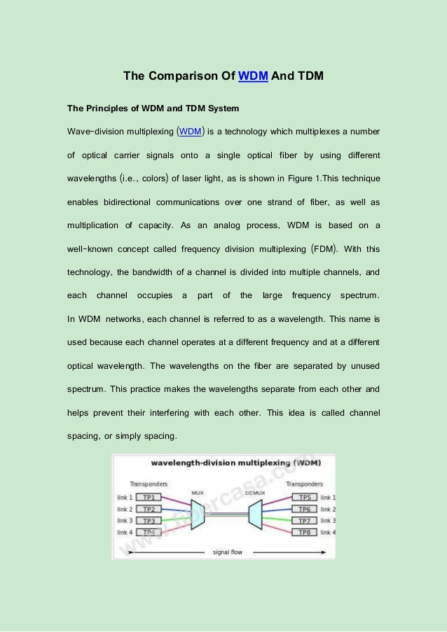 The Comparison Of WDM And TDM The Principles of WDM and TDM System Wave-division multiplexing (WDM) is a technology which ...