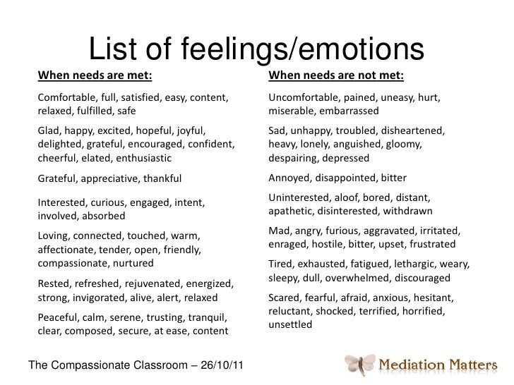 list of feelings and emotions with definitions pdf