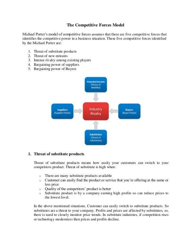 The Competitive Forces ModelMichael Porter's model of competitive forces assumes that there are five competitive forces th...