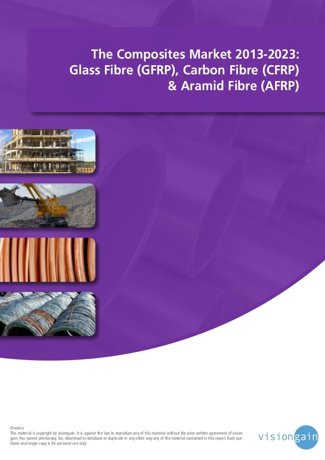 The Composites Market 2013-2023: Glass Fibre (GFRP), Carbon Fibre (CFRP) & Aramid Fibre (AFRP)  ©notice This material is c...