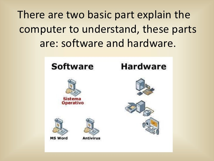 There are two basic part explain thecomputer to understand, these parts    are: software and hardware.