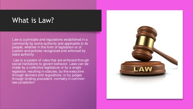 What is Law? Law is a principle and regulations established in a community by some authority and applicable to its people,...