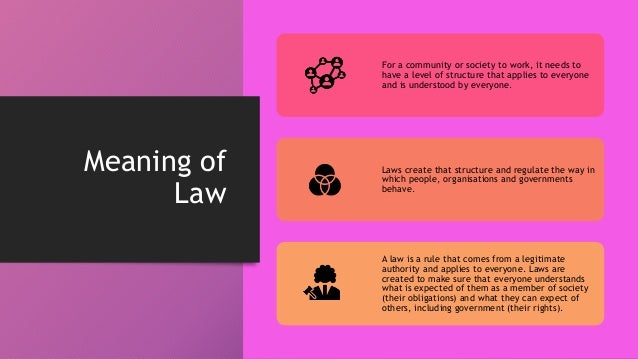 Meaning of Law For a community or society to work, it needs to have a level of structure that applies to everyone and is u...