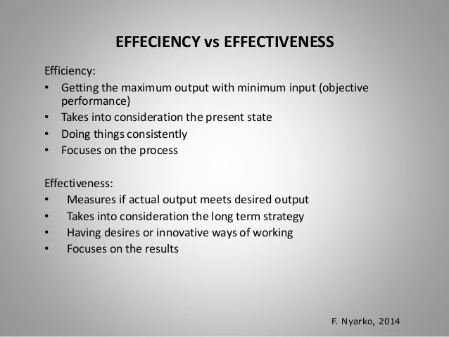 efficiency vs effectiveness Knowing the difference between efficiency and effectiveness in management will help you to understand the meaning of the two terms completely here in this article we.