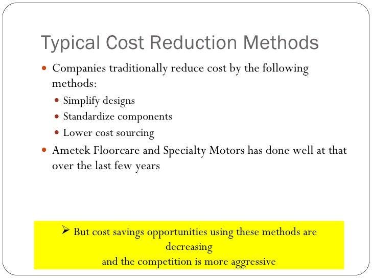 The concept of ultra low cost produce development Ametek specialty motors