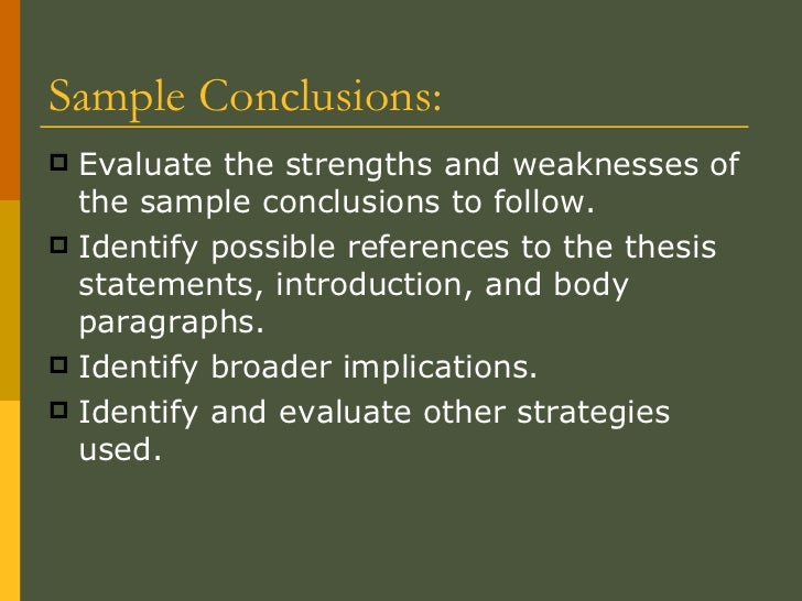 the conclusion paragraph sample conclusions