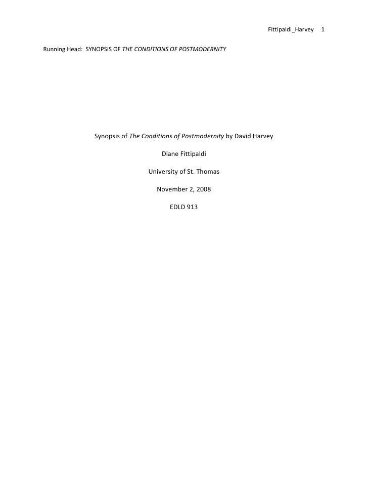 Fittipaldi_Harvey1     RunningHead:SYNOPSISOFTHECONDITIONSOFPOSTMODERNITY                                 ...