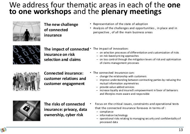 13 We address four thematic areas in each of the one to one workshops and the plenary meetings The new challenge of connec...