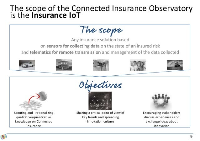 9 The scope of the Connected Insurance Observatory is the Insurance IoT Objectives Scouting and rationalizing qualitative/...