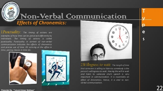 Non Verbal Communication Major Media Of Oral Communication Chronemics help us to understand how people perceive and structure time in spending time with another person sends the message that the person is important and reflects a desire to develop or maintain a close relationship. non verbal communication major media