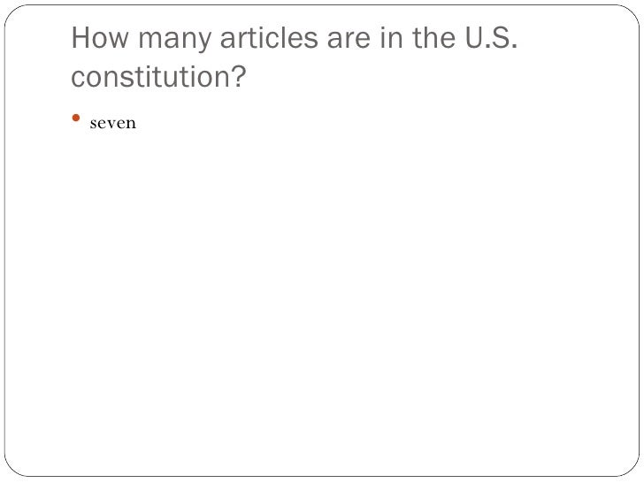 how many articles are in the constitution