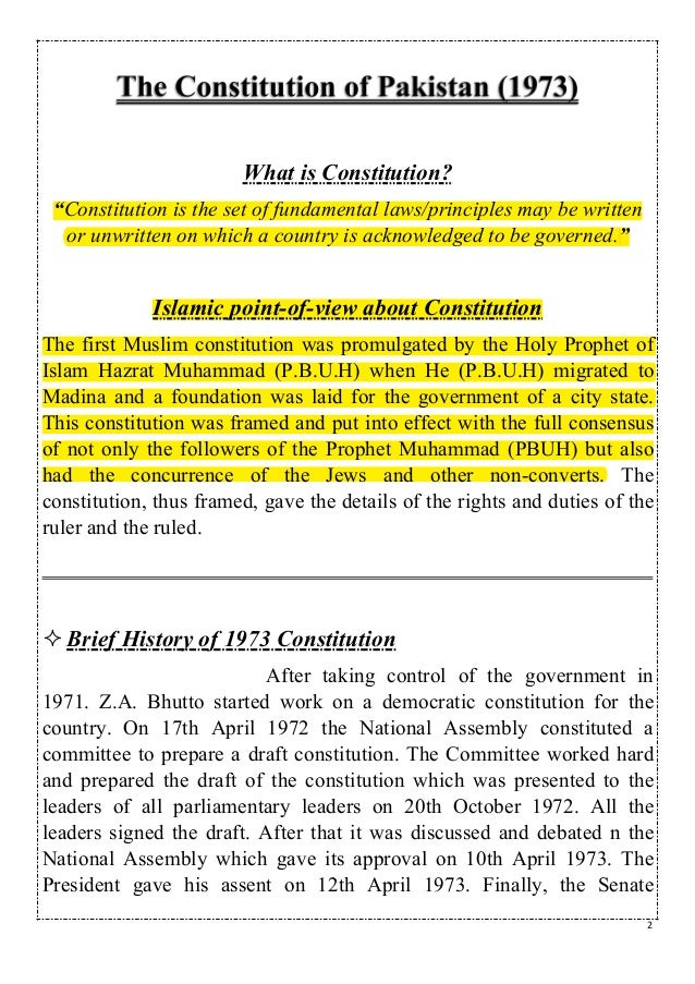 The constitution of pakistan Slide 2