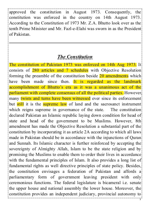 The constitution of pakistan Slide 3