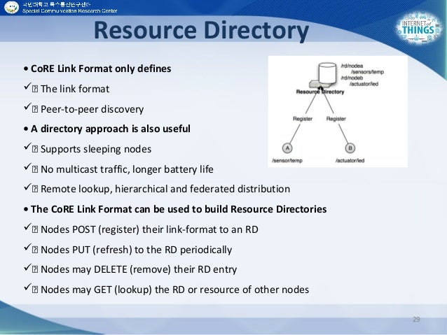 Resource Directory 29 • CoRE Link Format only defines  The link format  Peer-to-peer discovery • A directory approach ...