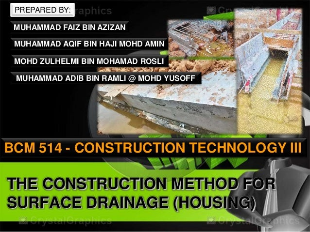 The construction method for surface drainage (housing)